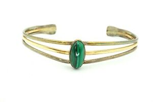 Vintage-Sterling-Silver-And-Gold-Filled-Malachite-Cuff-Bracelet