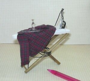 Miniature-034-Shadow-Box-034-Ironing-Board-w-Red-Blue-Plaid-Shirt-1-DOLLHOUSE-1-12