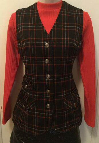 1970s Catalina Smart Plaid Tartan Waistcoat Vest B