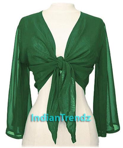 Belly Dance Tie Top Flair Wrap Choli Gypsy Haut Danse Blouse Emerald Green