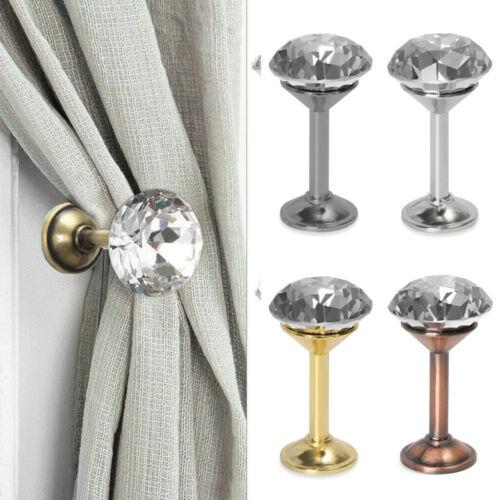 Hooks Metal Wall Tie Back Hanger Crystal Curtain Loop Holder Drapery Holdbacks