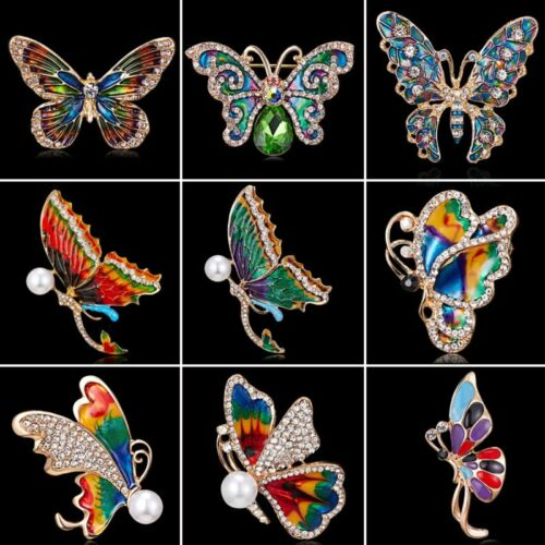 Fashion Lady Femmes Animal Papillon Cristal Perle Breastpin Broche Epingle Bijoux