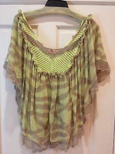 Anthropologie-Crochet-Knit-Boho-HIPPIE-Butterfly-Top-Blouse-Size-S-M
