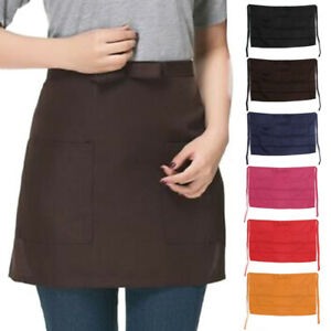 Kitchen Cotton Bow Short Half Waist Apron Bar Pub Cafe Server Waiter Waitress
