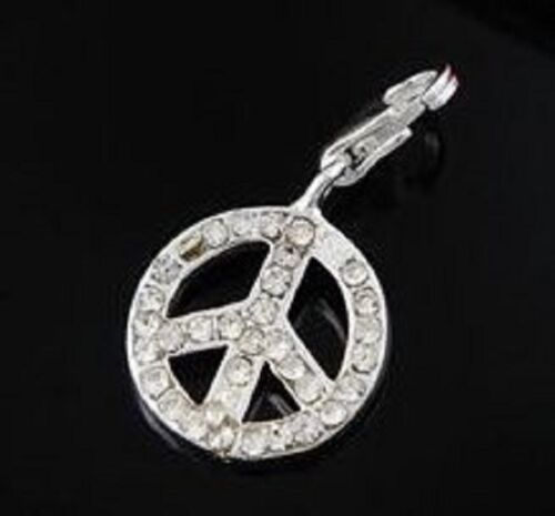 LOVELY SILVER PEACE SIGN WITH CLEAR RHINESTONES CLIP ON CHARM FOR BRACELETS