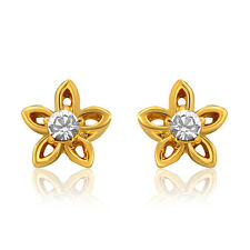 Gold Plated Stud Earrings with crystal stone ER8721 by Mahi