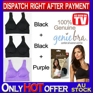 cdcd872177 Genuine Genie Bra Comfort Support Seamless S M L XL XXL 3XL Black x2 ...