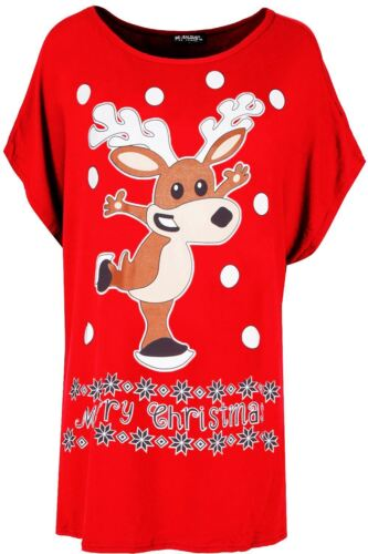 Womens Ladies Oversized Christmas Xmas Snowflakes Elf Candystick Baggy T Shirt