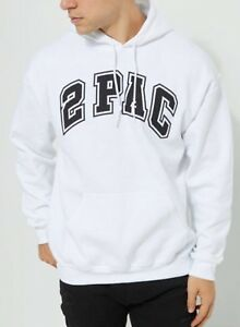New Men/'s Tupac Shakur Hooded Sweater Hoodie Size Large White 2Pac Hip Hip NWT