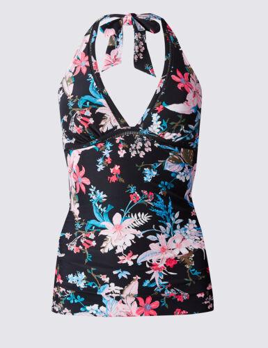 Nouveau m/&s Noir Mix floral Triangle plongeant Tankini Tailles UK 8 10 12 /& 12//10