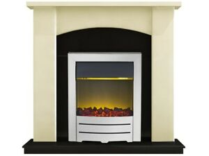 Adam Holden Fireplace Suite in Cream with Colorado Electric Fire in Chrome, 3...