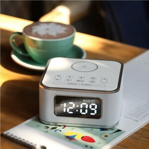 Homtime Alarm Clock With Radio - Wireless Charger Bluetooth Speaker and  Dimmable