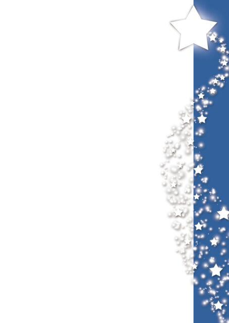 Motivpapier Briefpapier Weihnachten Sterne blaues Banner 50 Blatt A5 weiß blau