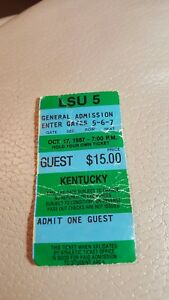 LSU Tigers vs Kentucky Football Ticket Stub 1987 Oct 17 ...