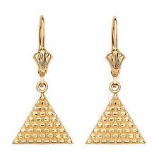14k Yellow Gold Egyptian Pyramid Triangle Drop Dangle Leverback Earrings
