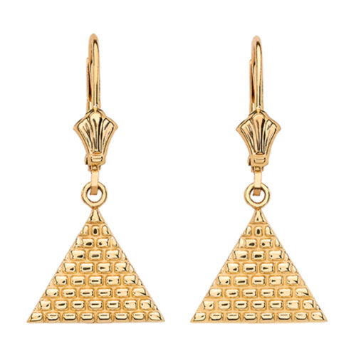 14k Yellow Gold Filigree Triangle Drop Lever Back Dangle Earrings