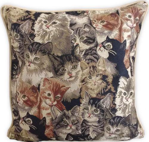 nostalgische Kissenhülle Katzen 40 x 40 cm Sofadeko Gobelin Kissen