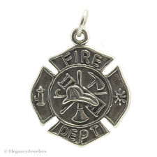 .925 Solid Sterling Silver Maltese Cross Firefighter Fire Department Charm