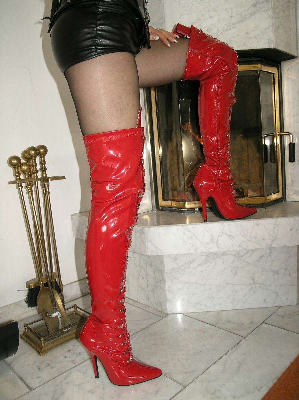 VERNICE STILETTO tacchi 45 alti stivali sopra il ginocchio ROSSO 45 tacchi Stiletto Tacco Lacci 2f7fbc