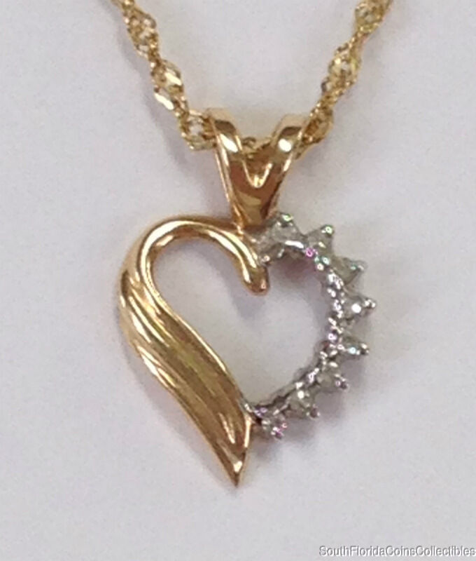 ESTATE JEWELRY 0.08 CTW DIAMOND HEART PENDANT 14K YELLOW gold 5 8  LONG