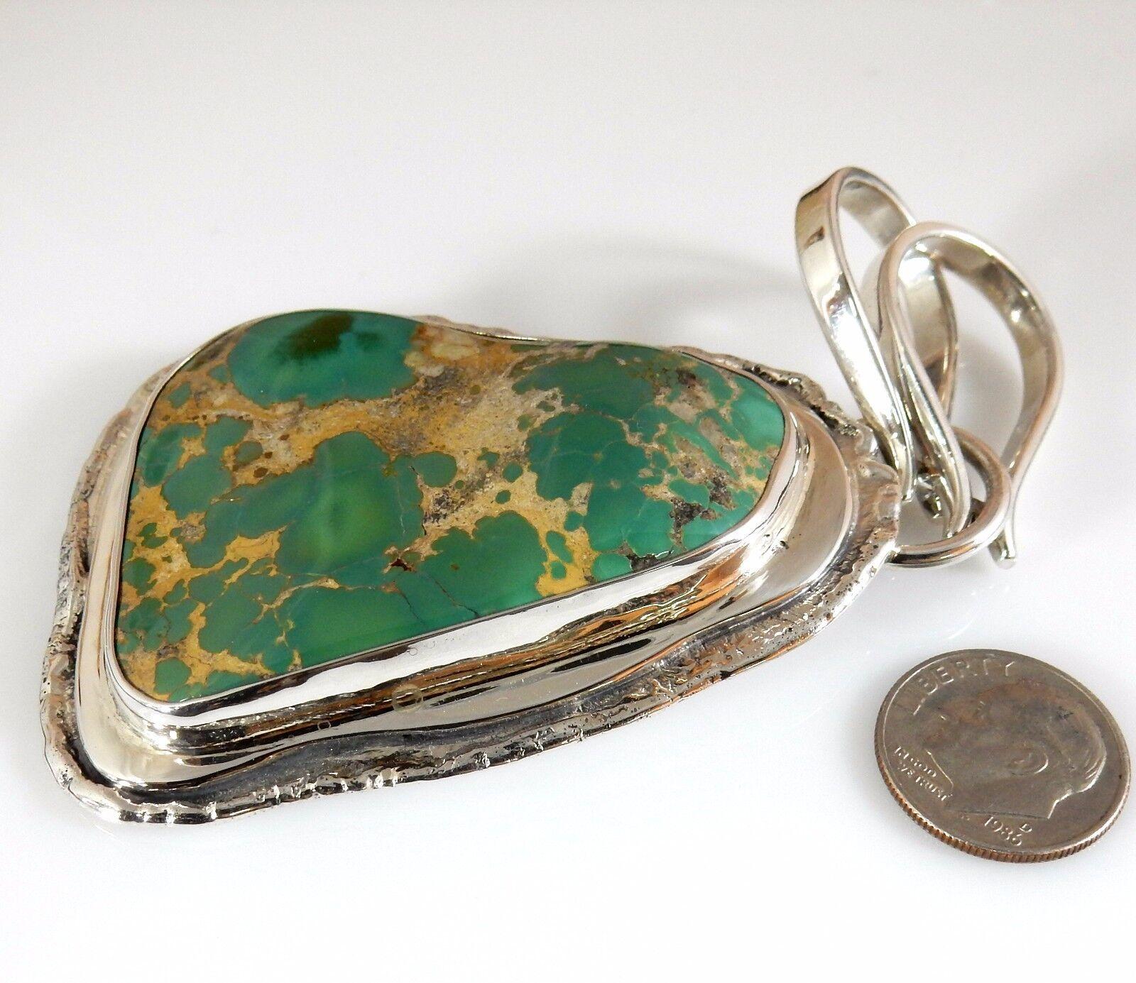Grande Rare argentoo Sterling Sterling Sterling Carico Lago Turchese Ciondolo 7beee7