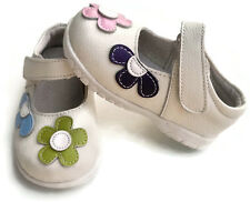 NEW 100% Leather girls flower shoes white baby toddler kids child appx 1-4yr