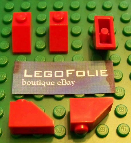 5 X Lego 3040  Slope 45 2 x 1 RED