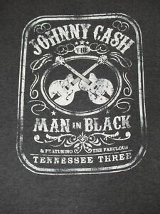 Nwot-Johnny-Cash-The-Man-in-Nero-Chitarre-Morbido-Grigio-2XL-T-Shirt-D239