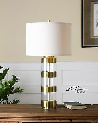 STATELY RICH BRUSHED BRASS & ACRYLIC TABLE LAMP CRYSTAL BASE LINEN SHADE LIGHT