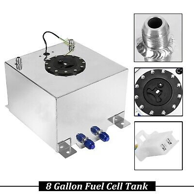 8 GALLON 30.5L POLISHED ALUMINUM RACING//DRIFT FUEL CELL GAS TANK W// LEVEL SENDER