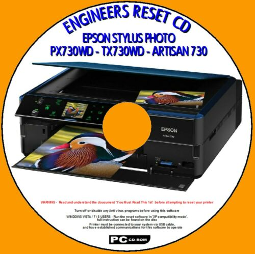 EPSON ARTISAN 730 PX730WD TX730W PRINTER WASTE INK PAD RESET ENGINEERS PC CD NEW
