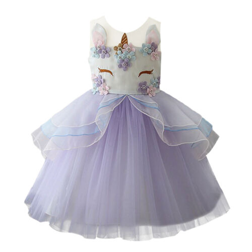 Unicorn Toddler Baby Kid Girls Birthday Wedding Princess Party Flower Girl Dress