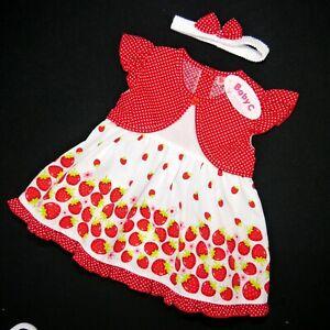 erdbeere 74,80,86 Mädchen Sommer Kleid Dependable Süßes 3 Tlg Gr