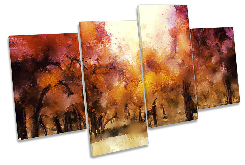 Sunset Forest Abstract Repro MULTI CANVAS Wand KunstWORK Drucken Kunst