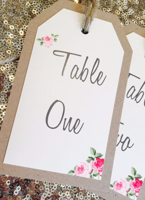 1 Vintage/Rustic 'Charlotte' Style wedding table number tag