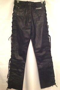 cuir lacets ~ d'équitation Womens Harley à 10 Davidson Pantalon Biker noir Vintage en x7zZUqq