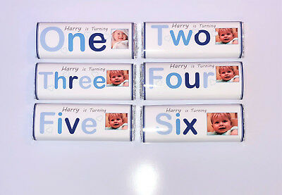 36 Personalised Birthday Chocolate Bar WRAPPERS RK53 1st 2nd 3rd 4th 5th 6th 7th