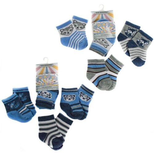 Baby boys three pack of ankle socks fox//tiger//stripe pattern 0-6,6-12,12-18month