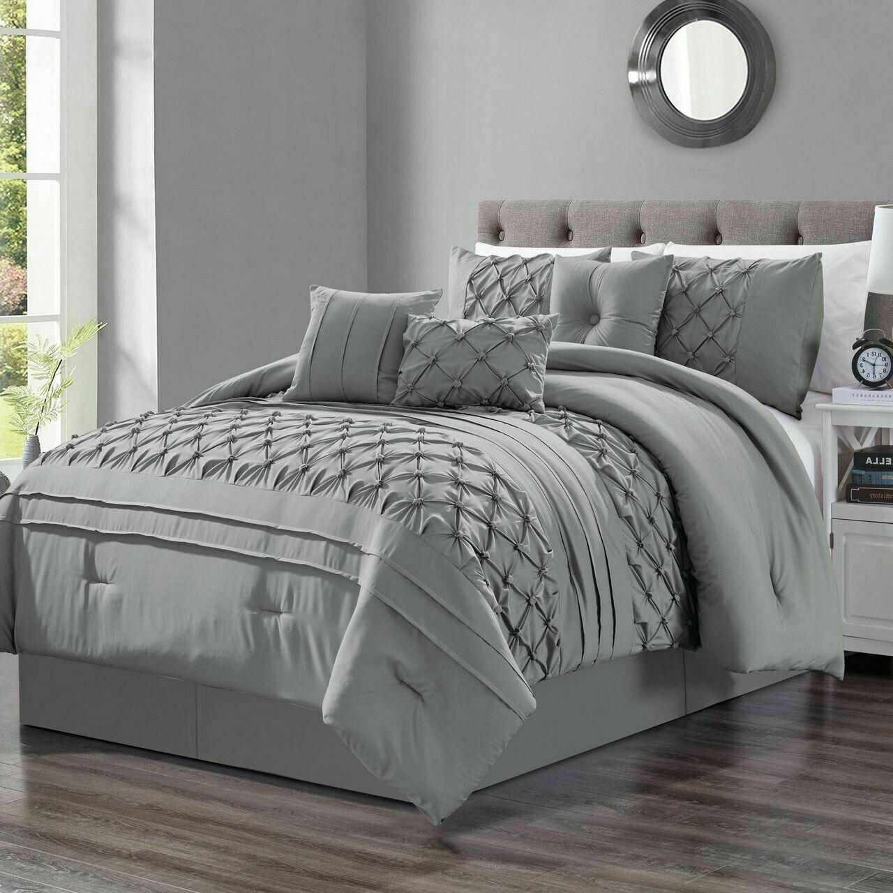 Elegant grau Embroiderot Pleat Pinch 7 pcs Cal King Queen Comforter Set