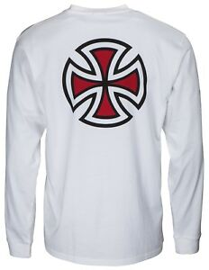 INDEPENDENT-BAR-CROSS-LONG-SLEEVE-T-SHIRT-WHITE