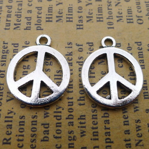10X Tibetan Silver Charms Peace Symbol Beads Pendants DIY 20*16mm