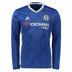 Image is loading adidas-Chelsea-2016-2017-Home-Jersey-Long-Sleeve- 89534d0537f8b