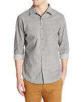 Mens Sovereign Code Long Sleeve Printed Geo Herringbone Button Front Shirt Xl