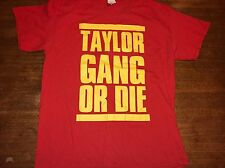 WIZ KHALIFA TAYLOR GANG OR DIE T-SHIRT red YELLOW LETTERING ADULT LARGE