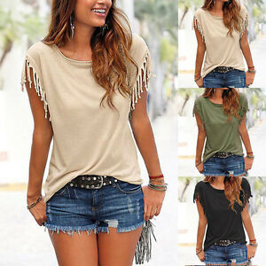 Womens-Casual-Tassels-Short-Sleeve-Ladies-Summer-Loose-T-Shirt-Tops-Blouse-Tee