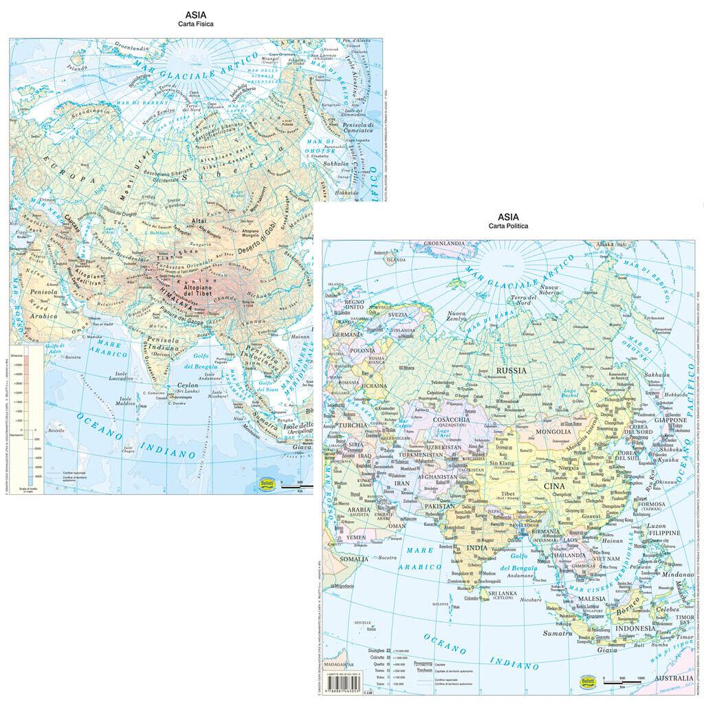 Cartina Asia Fisica.Asia Map Countertop Bi Facial 29 7x42 Cm Paper Map Poster Cosmetics Ebay