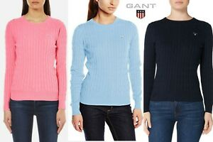 GANT-Women-039-s-Stretch-Cotton-Cable-Crew-Sweater