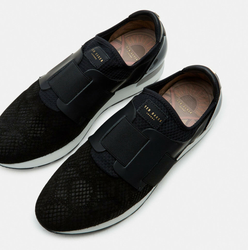 Ted Ted Ted Baker Women's Kygoa Embossed Suede Slip-on Sneakers in Black 12e33f