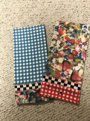 NEW MacKenzie Childs Berries /& Blossoms Dish Towels 20 x 30 Sold Out Set of 2