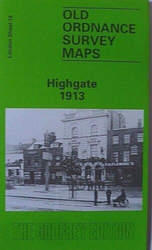 OLD ORDNANCE SURVEY DETAILED MAPS HIGHGATE LONDON 1913 Sheet 19